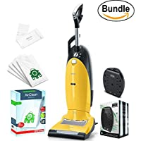 New Miele Dynamic U1 Jazz Upright Vacuum, Canary Yellow - Corded, ReVIVE Rapid Dual USB 6 Outlet Wall AC Adapter, & 10123230 AirClean 3D Efficiency Dust Bag, Type U, 4 Bags & 2 Filters (Bundle)