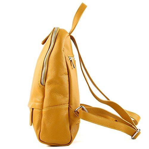 Leather Backpack Mustard T138 Citybag Bag Ladies Ital Yellow Rucksack Modamoda De EqwRTRO