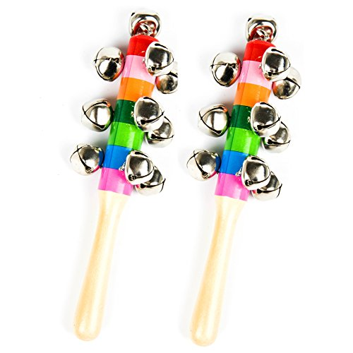 Ehome 2pcs Wooden Jingle Hand Bells, Wooden Handheld Jingle Bells, Wood Rhythm Bells Stick Color Rainbow Handle Wooden Bells Jingle Stick Shaker Rattle Toy Gift for Baby Kids Musical (Bell Shaker)