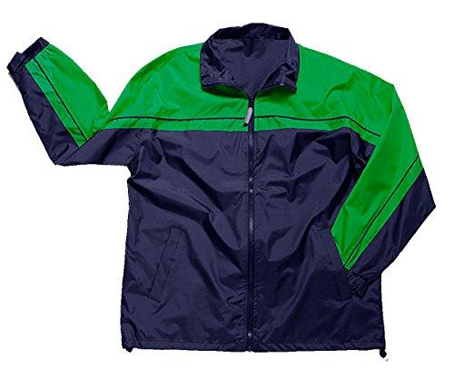 Apparel No. 5 Men's 2-Tone Windbreaker Jacket,XX-Large,Navy/Parrot Green