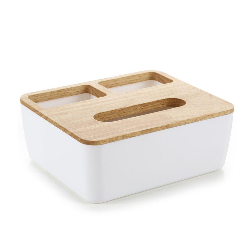 KAMIERFA Boîtes à Mouchoirs en Bois de Chêne Boîte Tissu Elégante avec Compartiments - Trois Compartiments