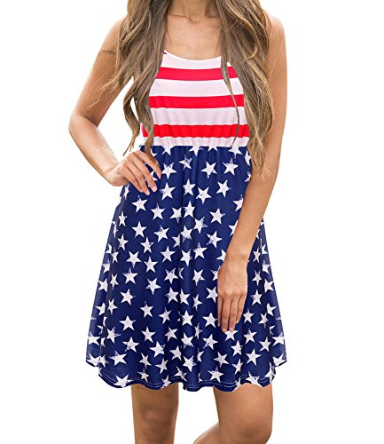 Imily Bela Women's Sleeveless Floral Print Stars and Stripes Racerback Midi Tank Dress USA Flag (Medium, (Floral Star)