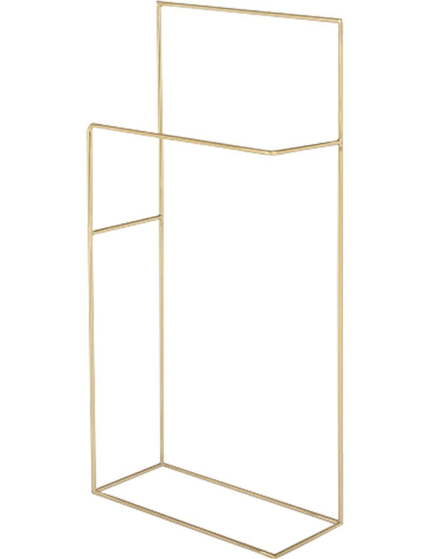 Znzwj Floor-Mounted Towel Bar, Double-Layer Minimalist Design, Small Utility Towel Rack for Bathroom or Kitchen, Floor Storage, Finishing Towel Rack (Color : Gold)
