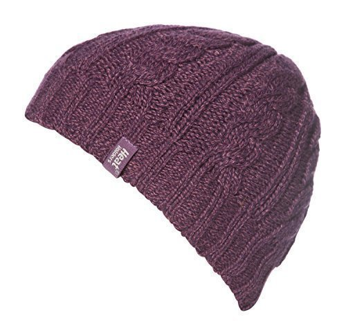 Women's Heat Holder Thermal Cable knit Hat with Heatweaver Yarn Purple (Heat Holders Thermal Hat compare prices)