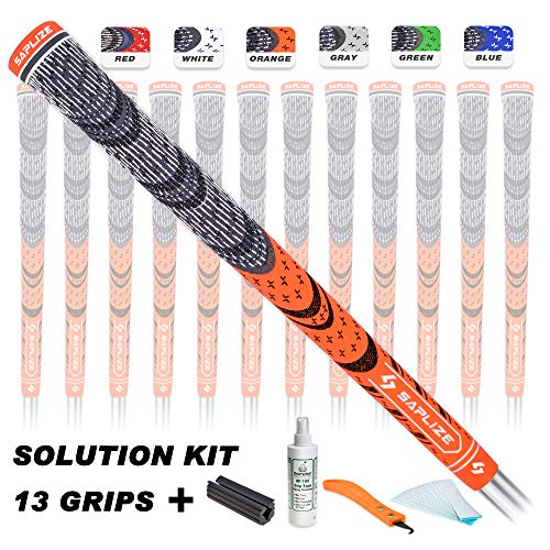 SAPLIZE Golf Grips(13 Grips with regriping kit), Cord Rubber, CL03 Golf Club Grips, Standard Size, Fluorescent Orange