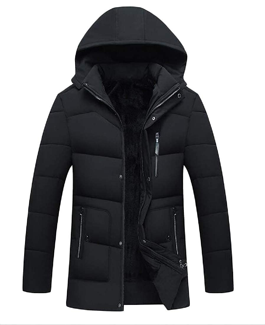 Joe Wenko Men Puffer Cotton-Padded Hooded Classic Outerwear Parkas Down Coat