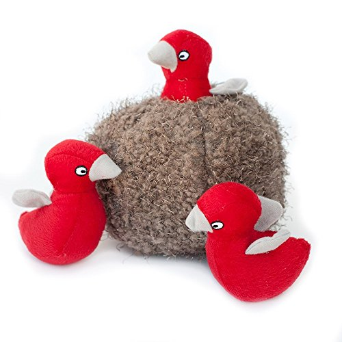 ZippyPaws Woodland Friends Burrow, Interactive Squeaky Hide and Seek Plush Dog Toy - Bird Nest
