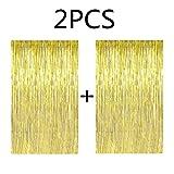 Fecedy 2pcs 3ft x 8.3ft Gold Metallic Tinsel Foil Fringe Curtains