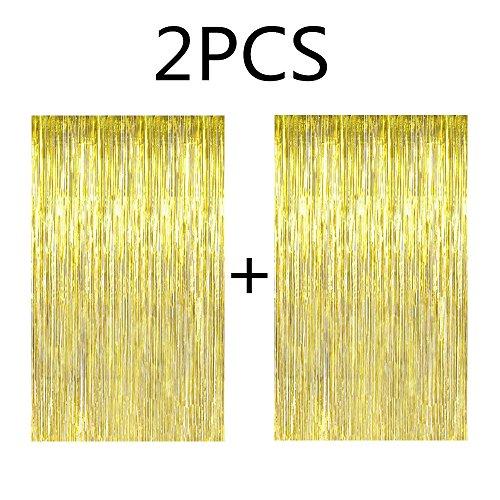 Fecedy 2pcs 3ft x 8.3ft Gold Metallic Tinsel Foil Fringe Curtains -
