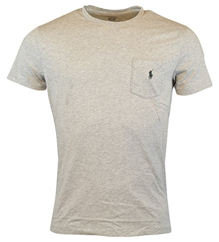 Polo Ralph Lauren Mens Classic Fit Pocket Logo T-Shirt - M - Spring Heather (T-shirt Pocket Ralph Lauren)