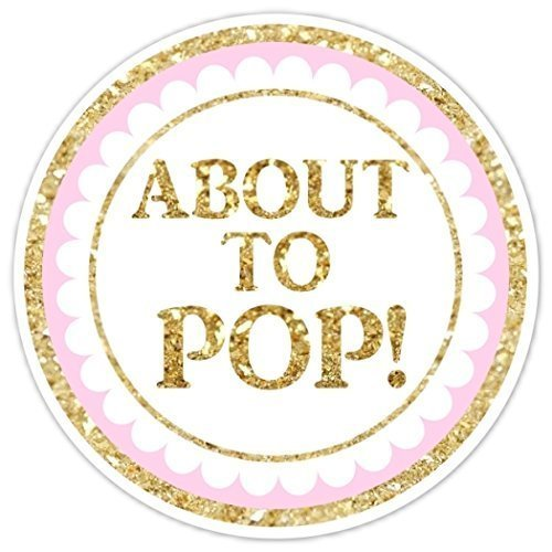 36 baby shower labels about to pop stickers gold glitter and pink stickers