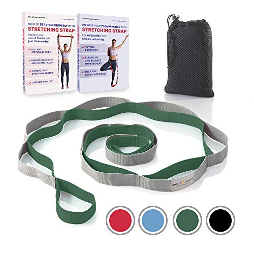 Stretching Strap for Yoga and Rehabilitation  2 Free Ebooks included - Rehab Stretch Band with 12 Loops to Improve Your Flexibility - Recommended Physical Therapy Equipment (gray-dark green)