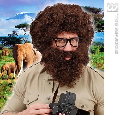 Brown Curly Afro Wig With Beard Alan From The Hangover Explorer Fancy Dress by Home & Leisure Online for $<!--$70.49-->