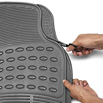 Oxgord Universal Fit 3-piece Full Set Ridged Heavy Duty Rubber Floor Mat - (Gray) 1