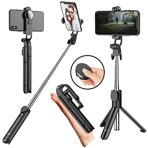Selfie Stick, Extendable Selfie Stick Tripod with Wireless Remote Tripod Stand 360°Rotatable Phone Holder for iPhone X/iPhone 8/8 Plus/iPhone 7/7 Plus, Galaxy S9/S9 Plus/S8/S8 Plus/Note8, Huawei up to