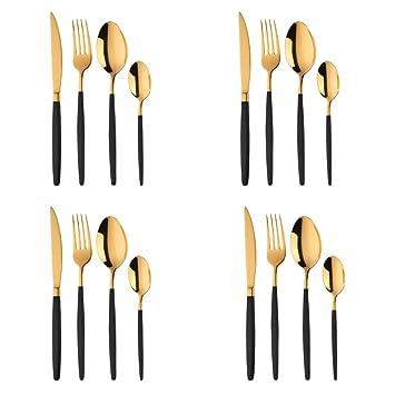 16 piezas Cuberteria PVD Oro con Mango Recubierto Negro Acero Inoxidable Set de Vajilla, Bisda Cubiertos Servicio para 4: Amazon.es: Hogar
