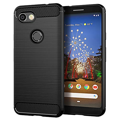 Google Pixel 3a Case,Slim Thin [Anti-Fingerprint] TPU Shock Absorption Carbon Fiber Pattern Flexible Soft Skin Silicone Protective Case Cover for Google Pixel 3a (Black)
