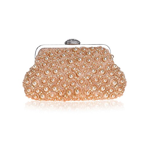 Bag Shoulder Clutch Women for Champagne Party Fully Rhinestone Wedding Evening Handbag Bead on Pearl xCTqnU6