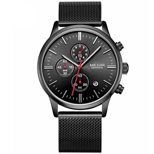 Reloj Megir de cuarzo con cronógrafo para hombre, correa de malla de acero inoxidable, negro, reloj multifunción, deportivo: Amazon.es: Relojes