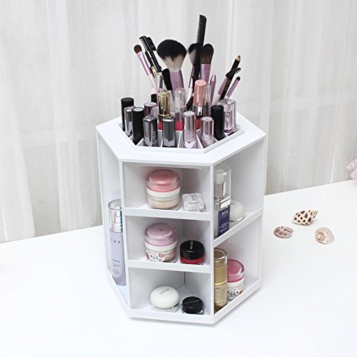 FLHSLY 360° Rotate desktop cosmetic storage box Dressing table Skin care products Finishing shelf Cosmetic case storage Artifact , B by FLHSLY
