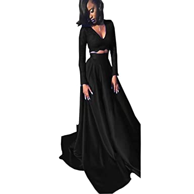 Dimei Royal Arabic Two Piece Lace Prom Dresses Long Sexy 2018 A Line V Neck Satin