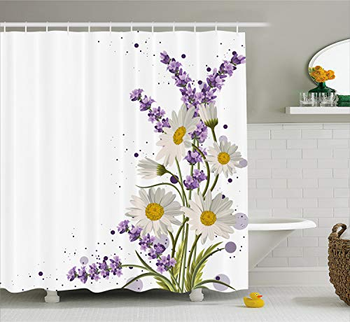 Ambesonne Lavender Shower Curtain, Vivid Bouquet with Daisies Color Slashes Scenic Modern Artistic, Fabric Bathroom Decor Set with Hooks, 70 inches, Green Marigold