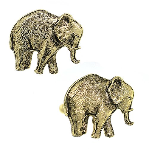 Elephant Gold Cufflinks - 14K Gold Dipped Elephant Cuff Links