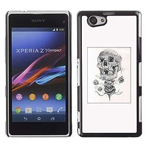 iBinBang / Funda Carcasa Cover Skin Case - Skull Pencil Sketch Poster Black White - Sony Xperia Z1 Compact D5503