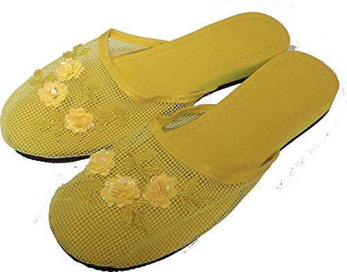 Yellow Available Sequin Colors Mesh with Slippers 15 in Women's O6qwf8RPxw