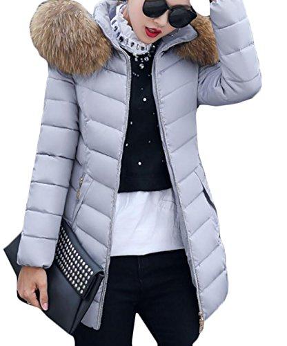 Gocgt Women Casual Fur Collar Long Puffer Down Jacket 3