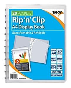 1 x A4 Rip N elegante carcasa rígida transparente de recambio carpeta de almacenamiento + 20 billeteras