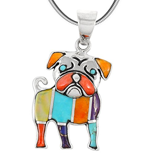 - Puppy Dog Turquoise & Gemstone Pendant Necklace in 925 Sterling Silver (18
