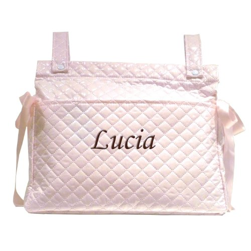 Mi Pipo - Bolso panera personalizado bebé rosa, color de bordado: chocolate
