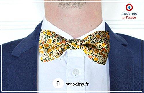 Noeud papillon (tissu) - Chalandry - liberty jaune et vert - Fabriqué en France par Woodiny