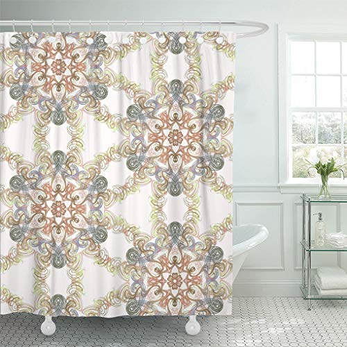- Emvency Shower Curtain Geometrical Abstract Batek Batik Digital Drawing Elegance Graphic Infinity Shower Curtains Sets with Hooks 60 x 72 Inches Waterproof Polyester Fabric