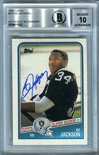 (Bo Jackson 1988 Topps Football Autograph Auto Rookie Card #327 - BAS 10)
