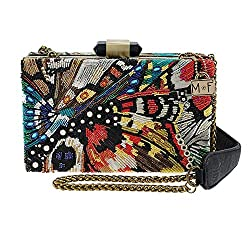 Butterfly Beaded Crossbody Handbag