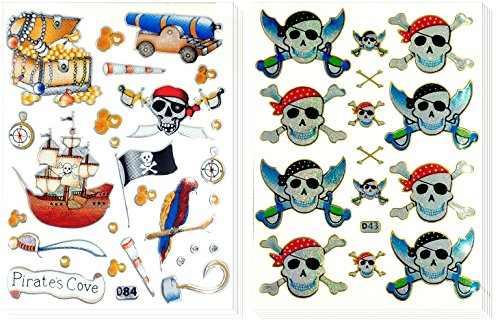 Pirate and Skull Head - 10 Sheets Decorative Sticker Scrapbook Stickers, Reflective Stickers - Stickers for Kids - Size 4 X 5.25 Inch./sheet ()