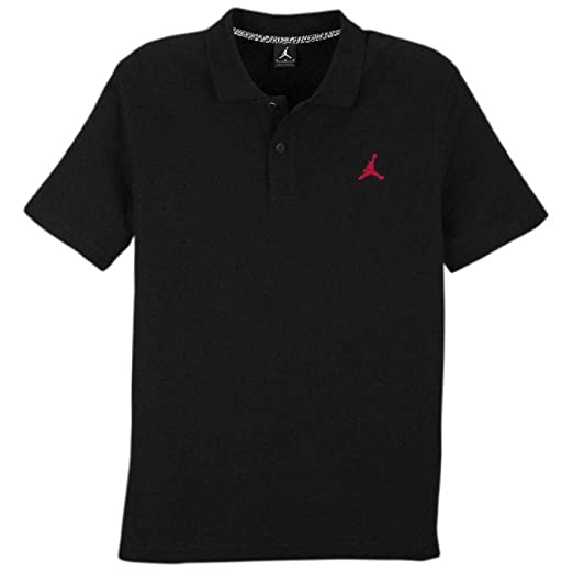 b4f86bb1c08 Amazon.com: Nike Boys Air Jordan Solid Dri Fit Polo Shirt (M, Black ...