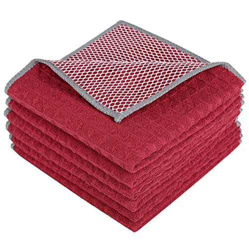 affle Weave Dish Cloth Best Kitchen Cloths Cleaning Cloths with Poly Scour Side 12Inchx12Inch 6-Pack Red ()