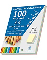 Dohe- Pack de 100 papeles A4, 80 g, multicolor pastel, Color surtido (30195)