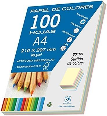 Dohe- Pack de 100 papeles A4, 80 g, multicolor pastel, Color ...