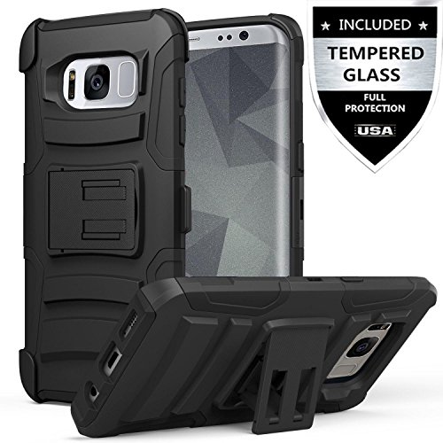Galaxy S8 Active Case With Tempered Glass Screen Protector,IDEA LINE(TM) Heavy Duty Armor Shock Proof Dual Layer Holster Locking Belt Swivel Clip with Kick Stand