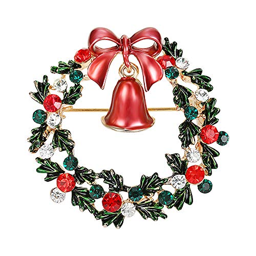 CHUNNA Christmas Brooch Pin for Women Classic Crystals Wreath Brooch Pin (Christmas Wreath Pin)