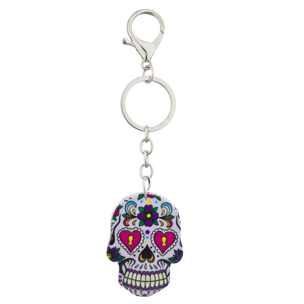 Lux Accessories White Sugar Skull Rose Keychain Key Ring K229852-1-K101