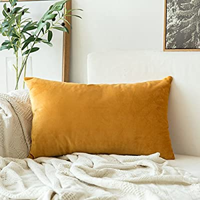 MIULEE Velvet Soft Soild Decorative Square Throw Pillow Covers Cushion Case for Sofa Bedroom Car 12 x 20 Inch 30 x 50 cm - Size:12 x 20 Inch / 30 x 50 Cm.Suitable for sofa,bed,home,office. Material:Polyester and Cotton Blend Zipper is hidden.This pillow cover is very noble. - living-room-soft-furnishings, living-room, decorative-pillows - 51rB4Wi7DiL. SS400  -