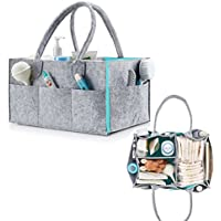 Foldable Baby Diaper Caddy Organiser - SHUNJIA Large Portable Nursery Storage Bin/Car Organizer for Diapers and Baby Wipes