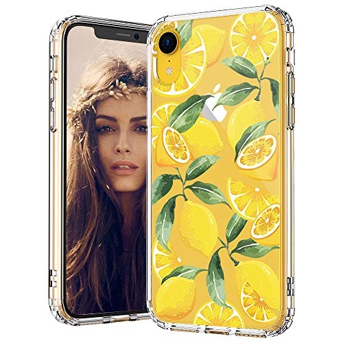 Design Hard Phone Case - MOSNOVO iPhone XR Case, Clear iPhone XR Case, Lemon Pattern Clear Design Transparent Plastic Hard Back Case with Soft TPU Bumper Protective Case Cover for Apple iPhone XR