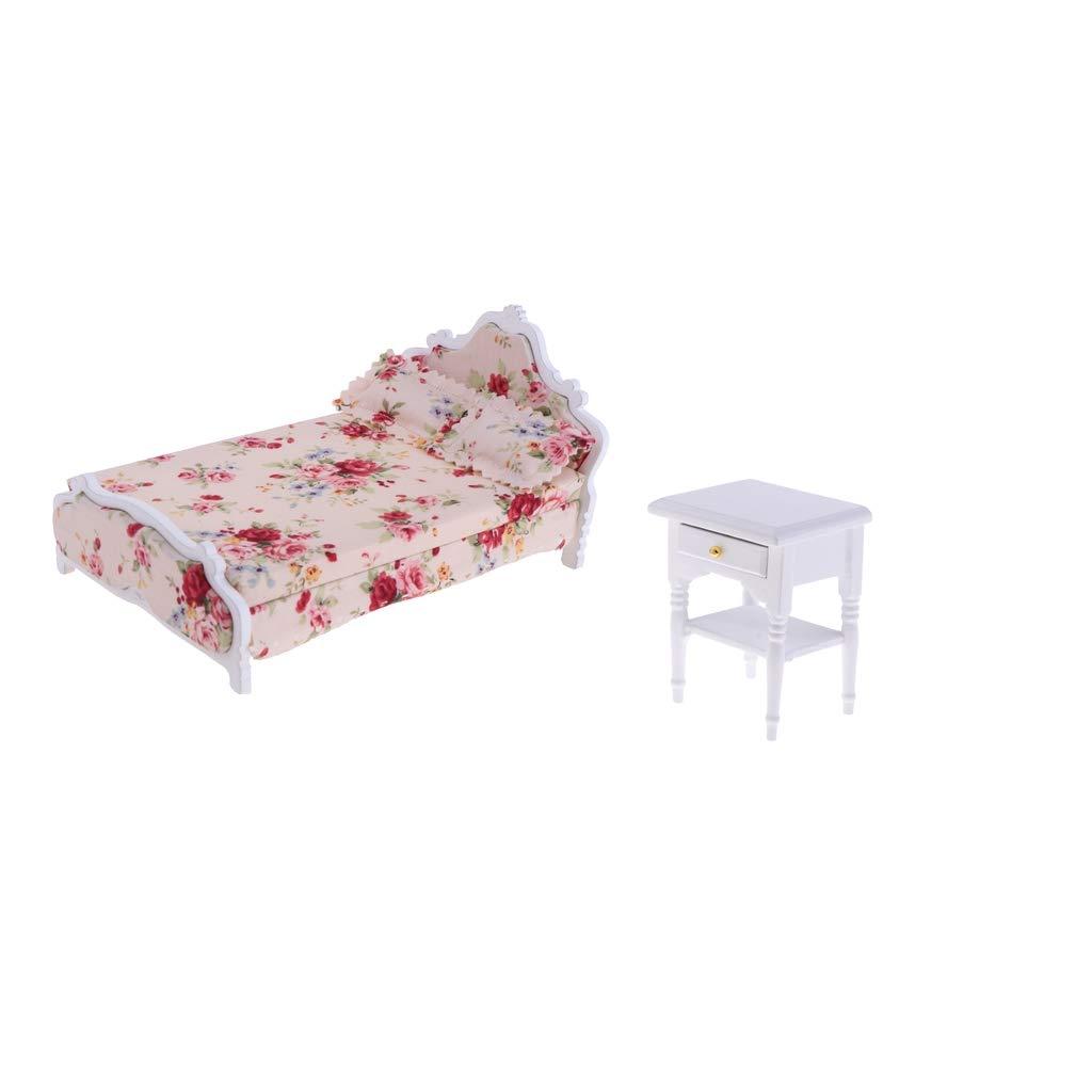 perfeclan Kit de 1/12 Dollhouse Miniatura Muebles de Madera Doble Cama Floral y Mesa Lateral Decoración para Casa de Muñecas