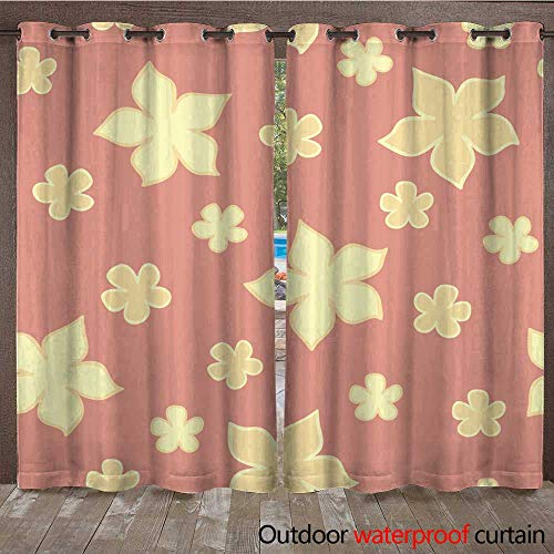 (RenteriaDecor Outdoor Curtains for Patio Sheer Elegance Flower Seamless Pattern W108 x L84)